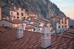 Roofs of modern houses. In village Portopiccolo, Italy Stock Image