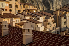 Roofs of modern houses. In village Portopiccolo, Italy Royalty Free Stock Image