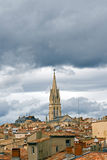 Roofs of Montpellier. Roofs of an ancient section of the city of Montpellier, France, on a cloudy day. Clouds are rare in this region of France royalty free stock photo