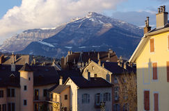 Roofs and mountain in Chambery, Savoy, France Stock Photo