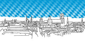 On the roofs of Munich, Vector Outline Sketch Royalty Free Stock Photos
