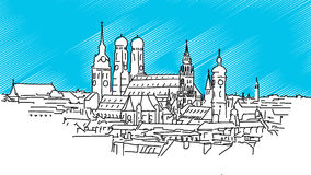 On the roofs of Munich, Vector Outline Sketch Stock Images