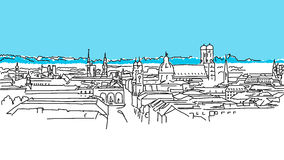 On the roofs of Munich, Vector Outline Sketch Stock Photography