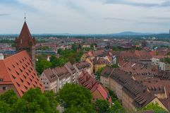 Roofs, Nuremberg. Panorama of the Old Town architecture in Nuremberg, Germany Stock Image