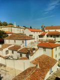 Roofs of Obidos, Portugal stock images