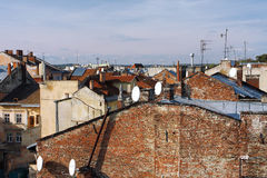 Roofs of the old buildings in the european city Stock Photo