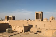 Roofs of the old center in Yazd, Iran stock image