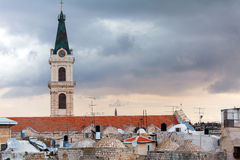 Roofs of Old City and Catholic Cathedral, Jerusalem Stock Photography