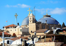 Roofs of Old City with Holy Sepulcher Chirch Dome, Jerusalem Stock Images