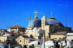 Roofs of Old City with Holy Sepulcher Chirch Dome, Jerusalem Royalty Free Stock Photography
