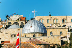 Roofs of Old City with Holy Sepulcher Church Dome, Jerusalem Stock Images