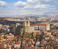 Roofs of old city and The Porto Cathedral Royalty Free Stock Images