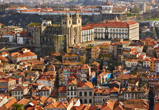 Roofs of old city and The Porto Cathedral (Se do Porto) in Porto Stock Images