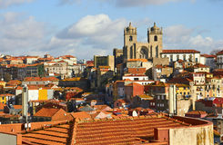Roofs of old city and The Porto Cathedral Royalty Free Stock Photo