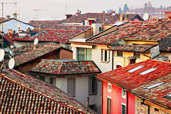 Roofs in the old city. View of many red roofs in the old city at susnet, Sirmione, Italy Stock Images