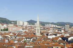 Roofs of the old downtown of Bilbao, Basque Country, Spain. Santiago cathedral in the middle of the old town Royalty Free Stock Photo