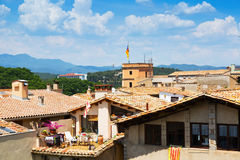 Roofs of old european city. Girona Royalty Free Stock Images