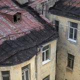 Roofs of old houses in the center of St. Petersburg. Walking. Royalty Free Stock Image