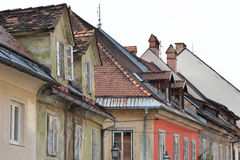 The roofs of old houses. Lofts. Stock Photo