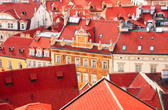 Roofs of old houses on Old Town Square, Prague Stock Photography