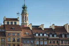 Roofs of the old houses on Old Town Square, Warsaw Stock Photography
