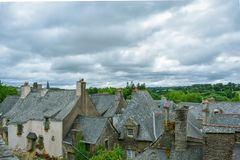 Roofs of the old houses in Rochefort-en-Terre, French Brittany stock photography