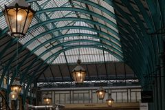 Roofs of Covent Garden Market. Roofs and old lamps of Covent Garden Market Royalty Free Stock Photography