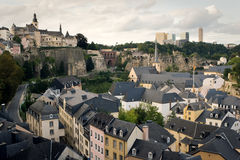 Roofs of old Luxembourg. Luxembourg - old town part, shot from the hill Royalty Free Stock Image