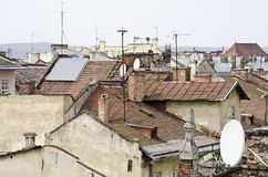 Roofs of the old Lvov city Stock Photos