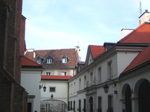 Roofs in old part of Warsaw. One of the streets in ld part of Warsaw Royalty Free Stock Photos