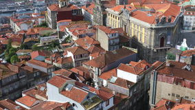 The roofs of old Porto city. The roofs old Porto city from bird eye view at sunny summer day, Portugal stock video