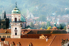 Roofs of old Prague and Astronomical Tower Royalty Free Stock Photography