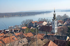 Roofs of the old quarter Gardos and river Danube, Zemun, Serbia royalty free stock photos
