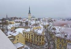 Roofs of old Tallinn, Estonia. In winter Stock Photos