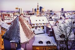 Roofs of Old Tallinn in the winter Royalty Free Stock Image
