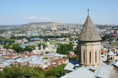 Roofs of old Tbilisi with top of Saint Bethlehem Church,Georgia Stock Image