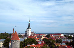 Roofs of the Old Town. General view over the Old Town od Tallinn and the Baltic Sea Royalty Free Stock Images