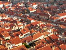 Roofs of old town Dubrovnik. Old town Dubrovnik in Croatia seen from the tower . Only red roofs and main street stock image