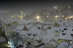 Roofs of The Old Town in Prague in Winter Night, Czech Republic Royalty Free Stock Images