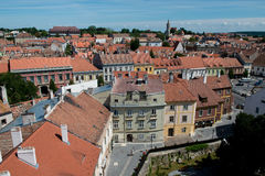 The roofs of the old town of Sopron. View from the Firewatch Tower on the roof of the old town of Sopron, important town in the transdanubia in Hungary Royalty Free Stock Image