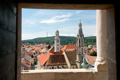 The roofs of the old town of Sopron. View from the Firewatch Tower on the roof of the old town of Sopron, important town in the transdanubia in Hungary Stock Photography