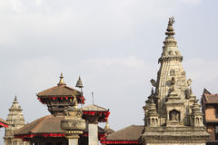 Roofs of pagoda and temple on the Durbar square in Bhaktapur, Ne Stock Photo