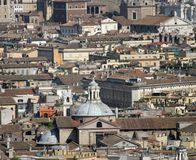 Roofs of palaces, churches and houses in the center of Rome Stock Photo