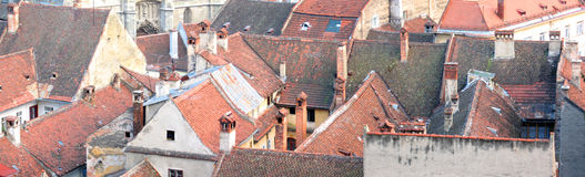 Roofs panorama. Panorama with old red roofs. Large source file Stock Photography