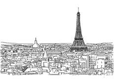 About the Roofs of Paris Handmade Drawing Royalty Free Stock Image
