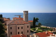 Roofs of Poreč. (Parenzo, Croatia). View from the belfry near Euphrasian Basilica to sea Stock Images
