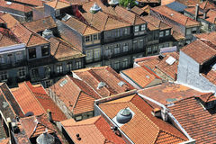 Roofs of Porto (Portugal). Old red tile roofs of Porto (Porto, Portugal Stock Photo