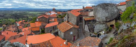 Panorama aerial view on Monsanto village. Roofs of the portugese province village Monsanto Royalty Free Stock Photo
