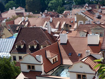Roofs of Prague. View from above on the Prague Old Town stock photography