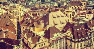 Roofs of Prague, Czech Republic, vintage retro style. Stock Image